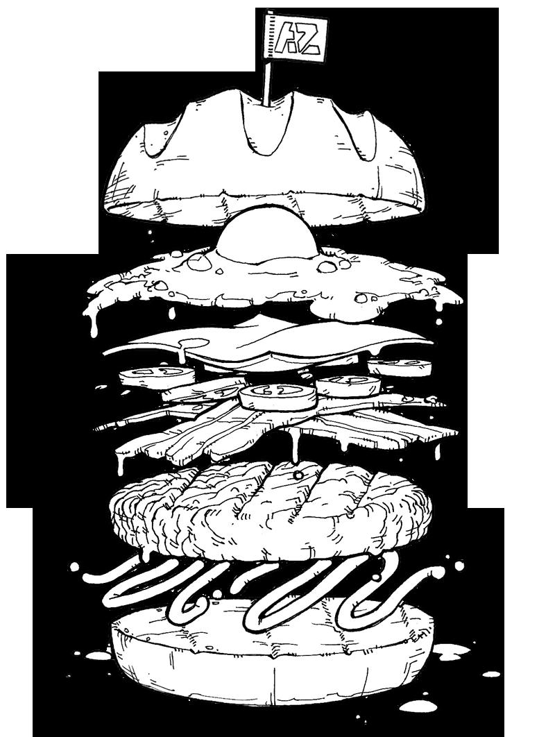Pin de Addam North em Tattoo Food Desenho de hambúrguer