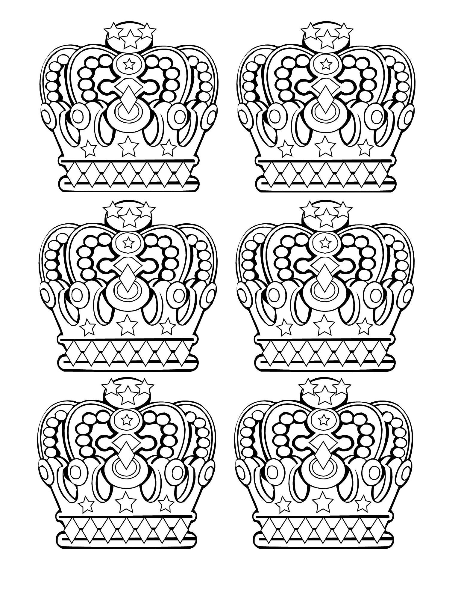 Free coloring page coloring-6-royal-crowns. Royal crowns (6 patterns ...