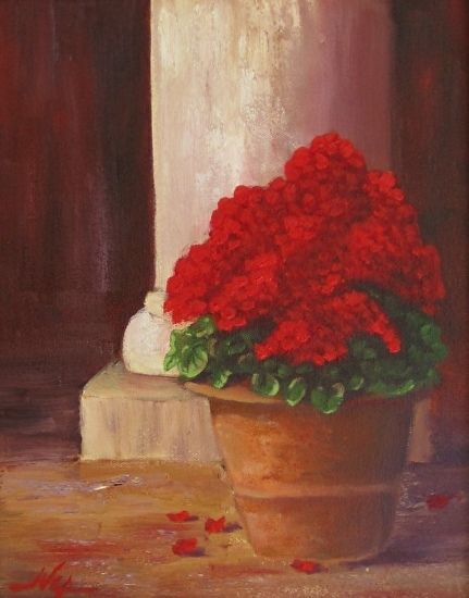 Geraniums  by Curt Ives (null) ~ 14 x 11 Simple study of a pot of geraniums and a column in my back yard. I'm working on a larger, much more detailed version currently.