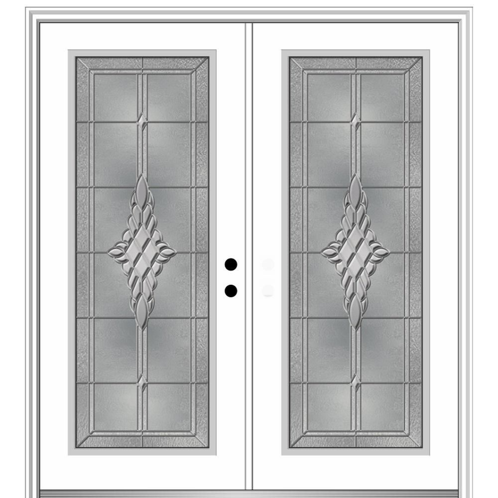 Mmi Door 72 In X 80 In Grace Left Hand Inswing Full Lite Decorative Primed Fiberglass Prehung Front Door On 6 9 1 Mmi Door Front Entry Doors Steel Front Door