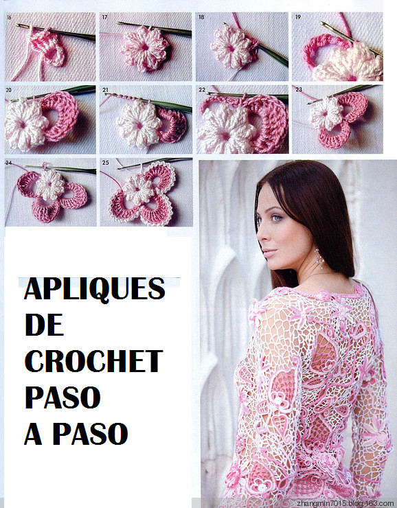 Patrones Crochet: Tutorial Paso a Paso Apliques | Ирландское кружево ...