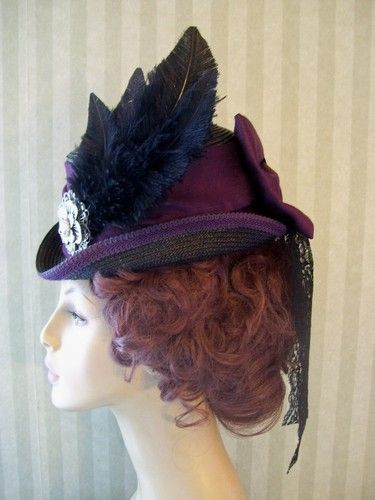 Victorian Ladies~Riding Hat~Equestrian~Civil War~Black~Feather~Millinery~Hat   cfd4cbfb883