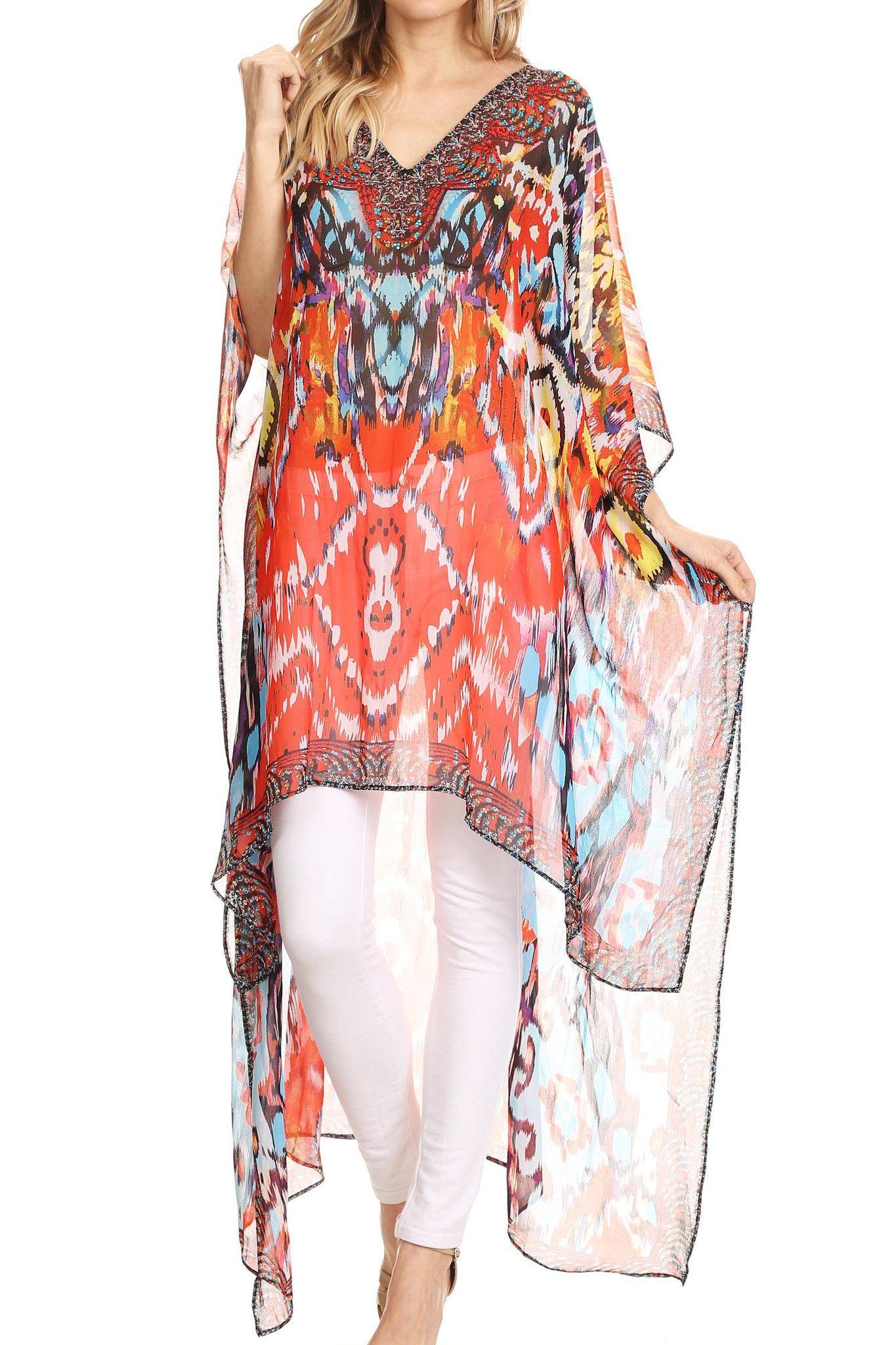 932653a71b4 Sakkas Zeke Hi Low Rhinestone V-Neck Caftan Dress Boxy Printed Top Cover    Up