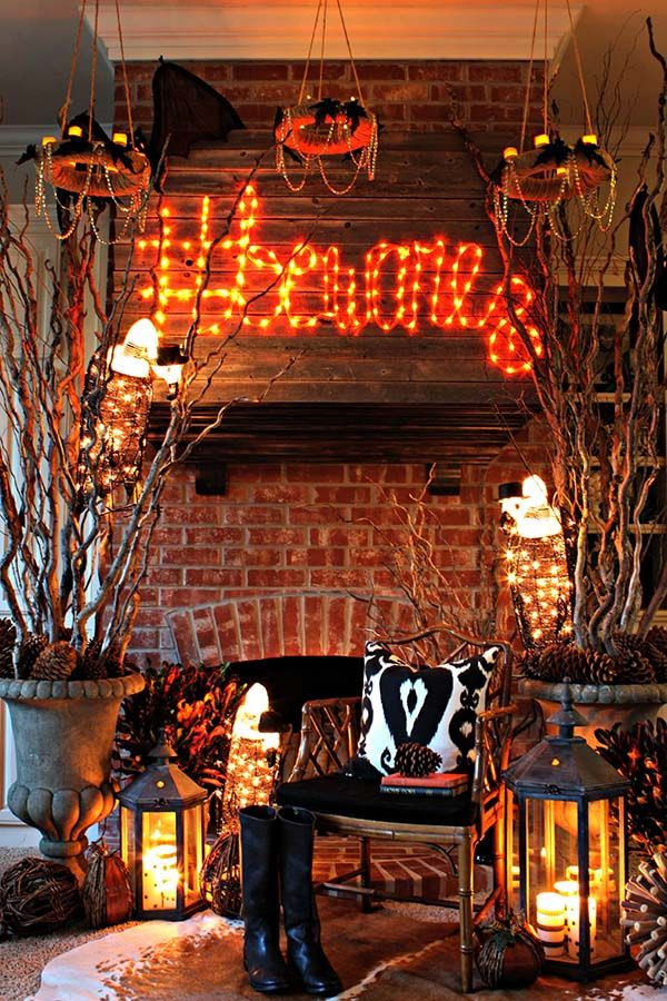 Diy Fireplace Makeover Ideas How To Decorate For Halloween: Spooky Forest Living Room