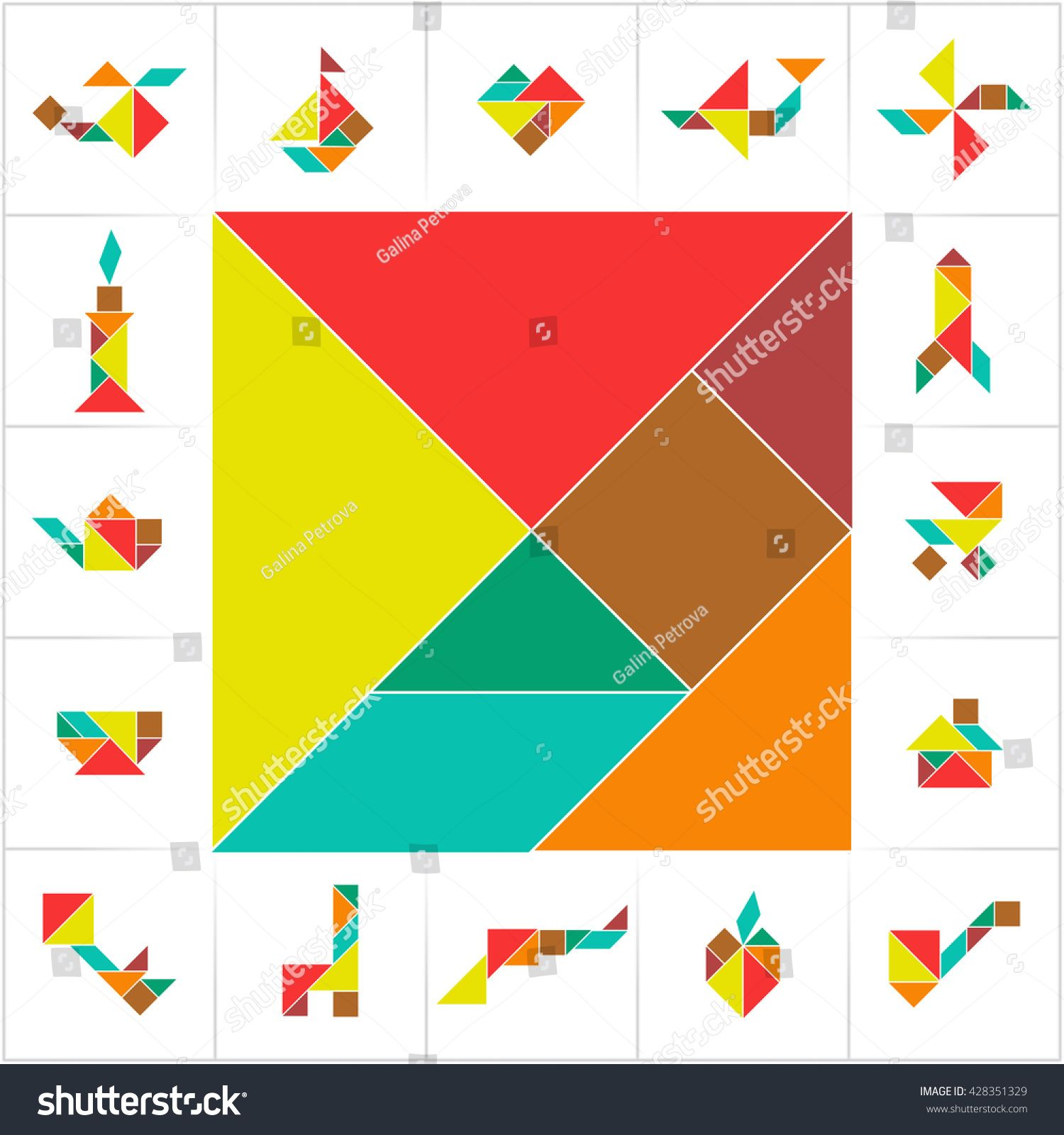Tangram Set Collection Cards Kids Board Stock Vector