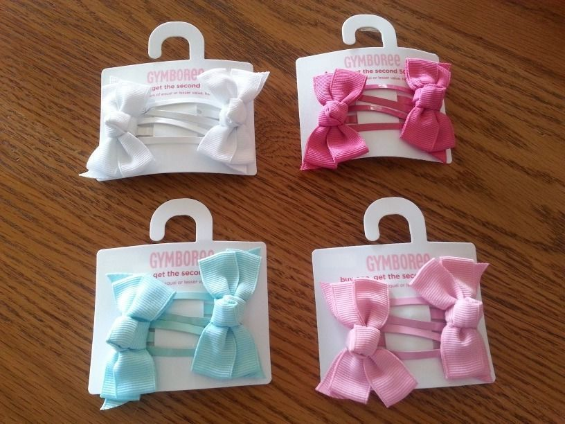 New Gymboree Girls SPRING RAINBOW Ribbon Hair Bow Clip Barrettes Two-Pack NWT #Gymboree