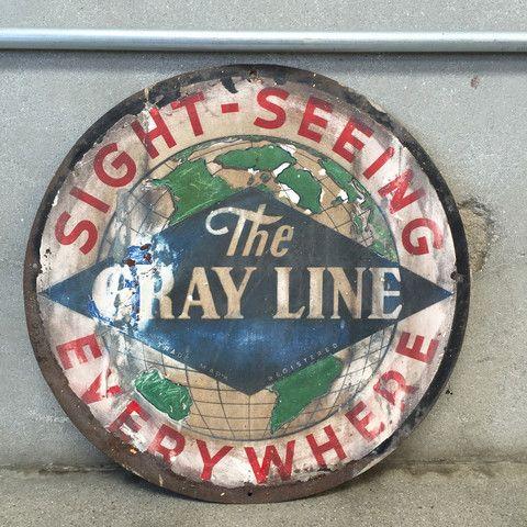 Vintage Metal Gray Line Sightseeing Sign / One Sided – UrbanAmericana