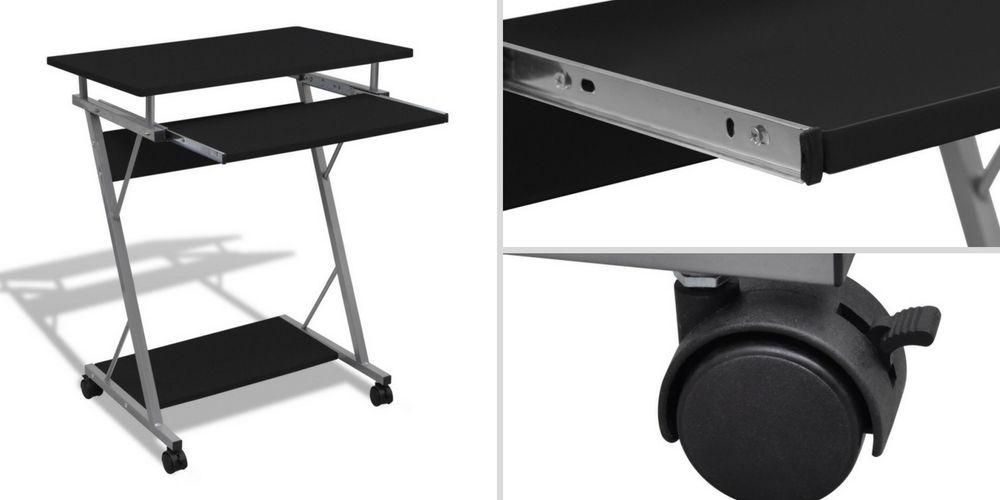 Best Small Computer Desktop Black Wooden Metal Laptop Desk 400 x 300