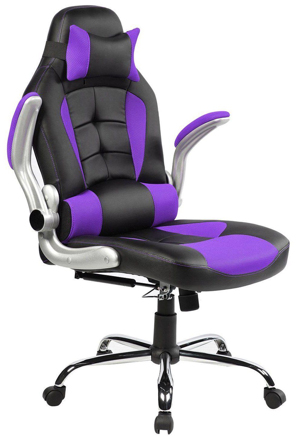 Merax King Series High Back Ergonomic Pu Leather Office Chair Racing Style Swivel Chair Computer Desk Lumbar Su Leather Office Chair Chair Headrest