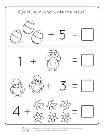 Addition Picture Worksheets For Kindergarden 001 in 2020