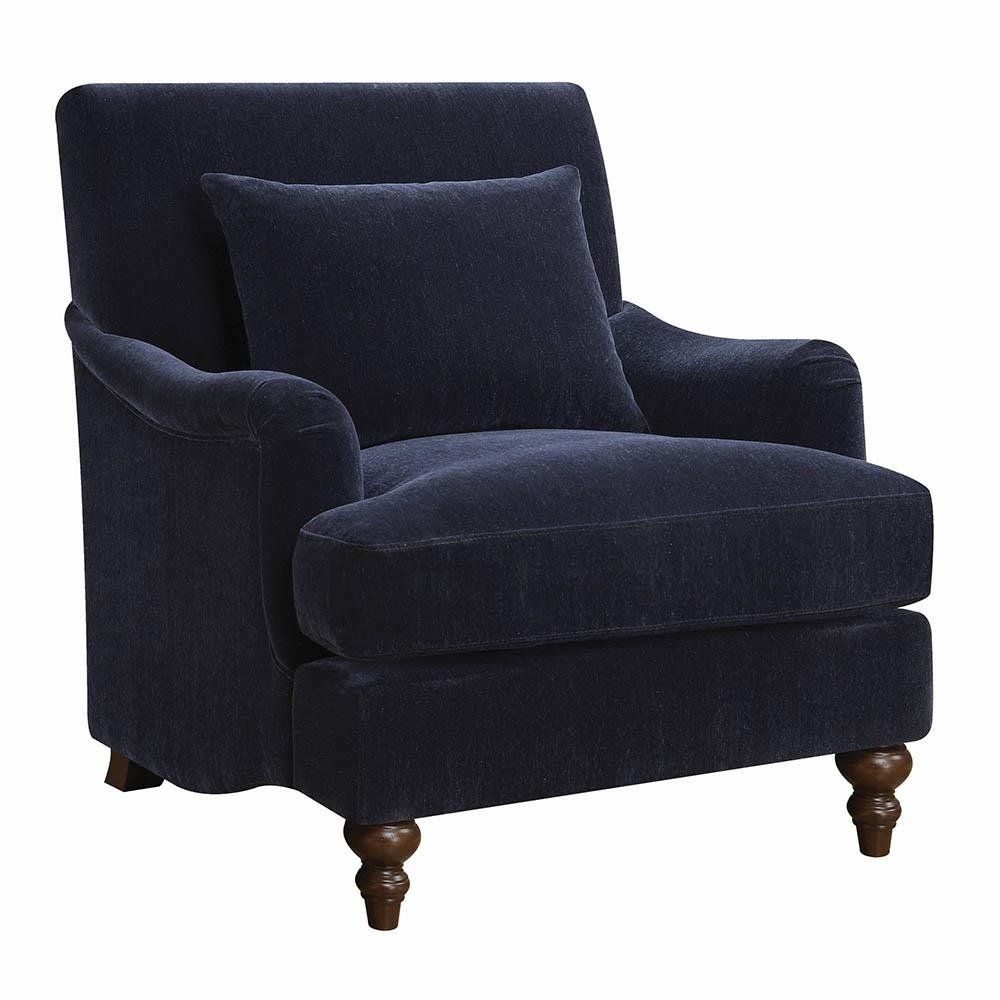 Best Kaley Midnight Blue Brown Fabric Wood Accent Chair 400 x 300