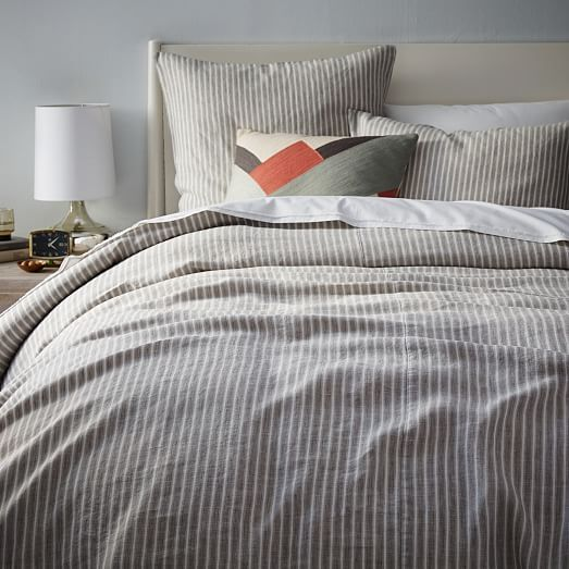 Striped Belgian Flax Linen Duvet Cover Shams West Elm