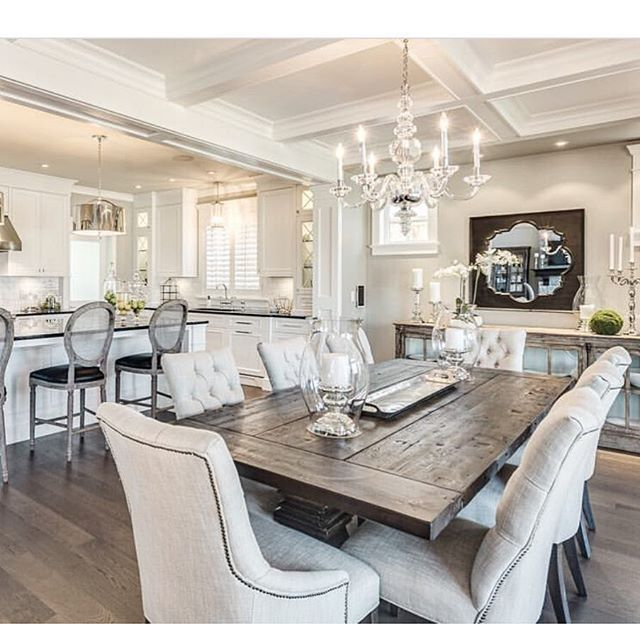 Rustic glam has stolen my heart thanks to this beautiful design by GREGORY  FUNK. Dining Room Table ...