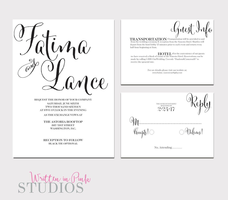 Printable Wedding Invitation-Wedding Invitation Suite-Invitation ...