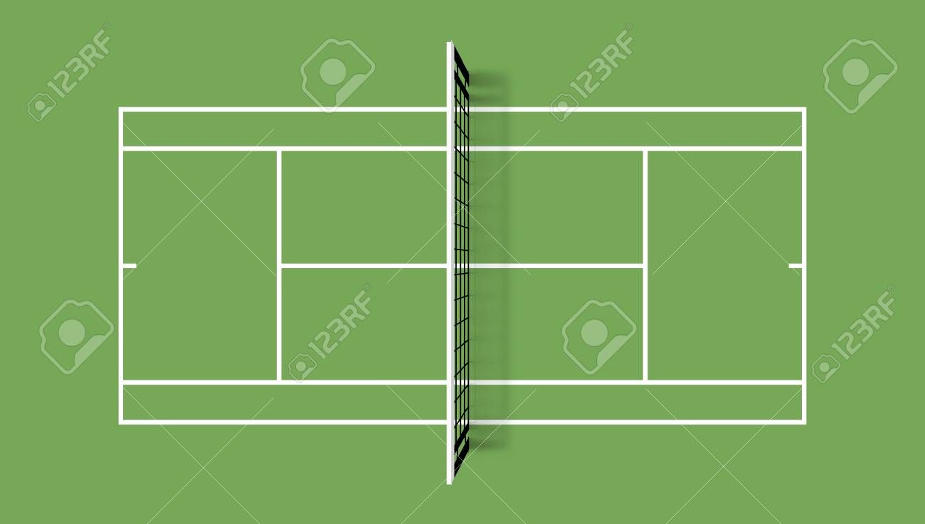 Tennis Court Grass Cover Field Top View Vector Illustration With Grid And Shadow On Green Background Aff Cover Green Backgrounds Designs To Draw Design