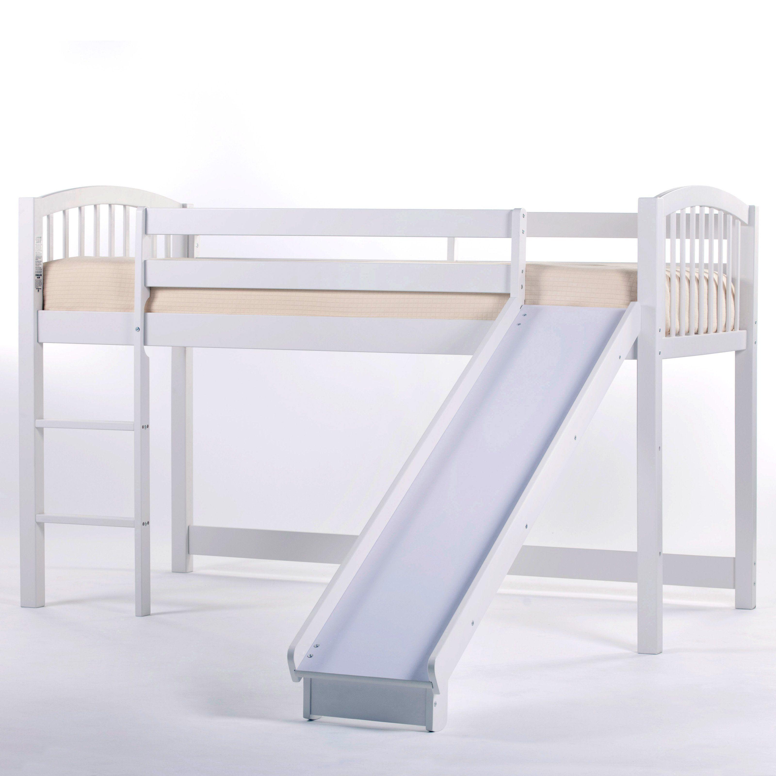 NE Kids Schoolhouse Junior Loft Bed With Slide   White   7060NSL