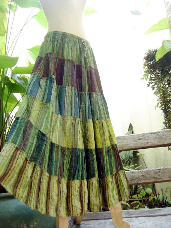 712229f29 Woven Dyed Cotton Long Tiered Skirt G0304 by fantasyclothes, $44.00