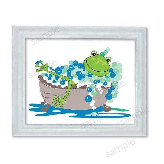 Frog Bathroom Wall Art Print Kids Frog Bath Froggy Bathtub Art