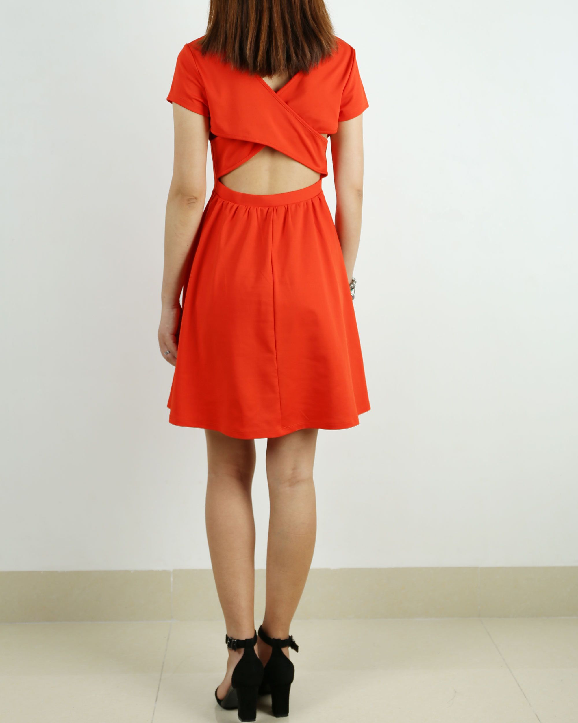 Sexy backless dress, form fitting knit dress, short sleeve dress, summer dress, evening dress, orange dress, ponte-de-roma dress(Q1017)