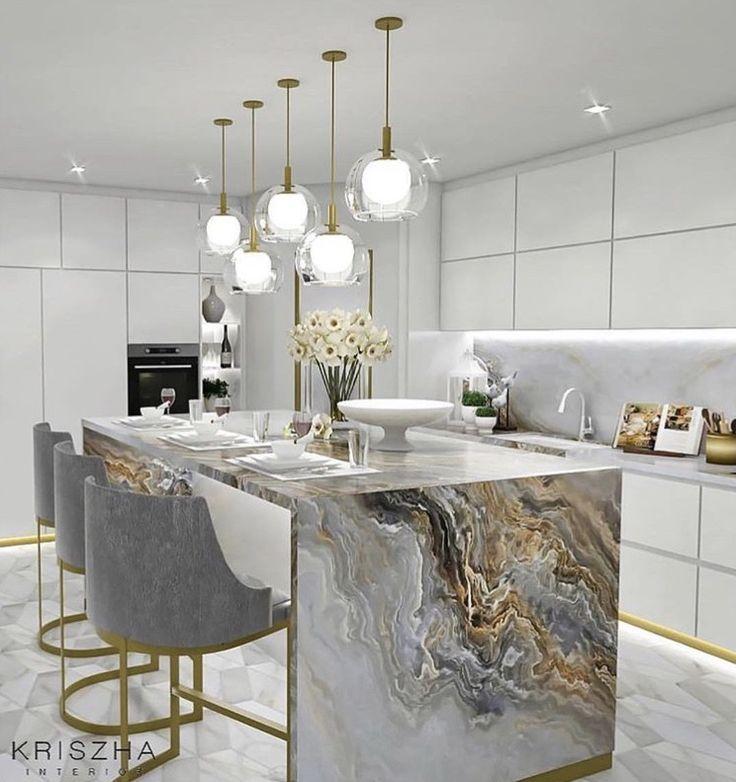 Schöne Küchenideen & Design Inspiration | #KitchenIdeas #KitchenInspiration ...  #design #inspiration #kitchenideas #kitcheninspiration #kuchenideen #marbledecoratingideas #schone #islandkitchenideas