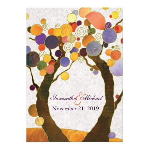 Fall Love Trees Modern Wedding Invitations