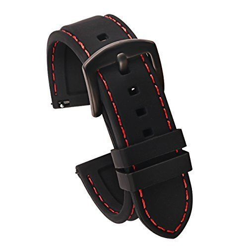28041f405 22mm Quick Release Silicone Watch Strap for Watches and Smartwatches  Replacement Watch Band Black(Red