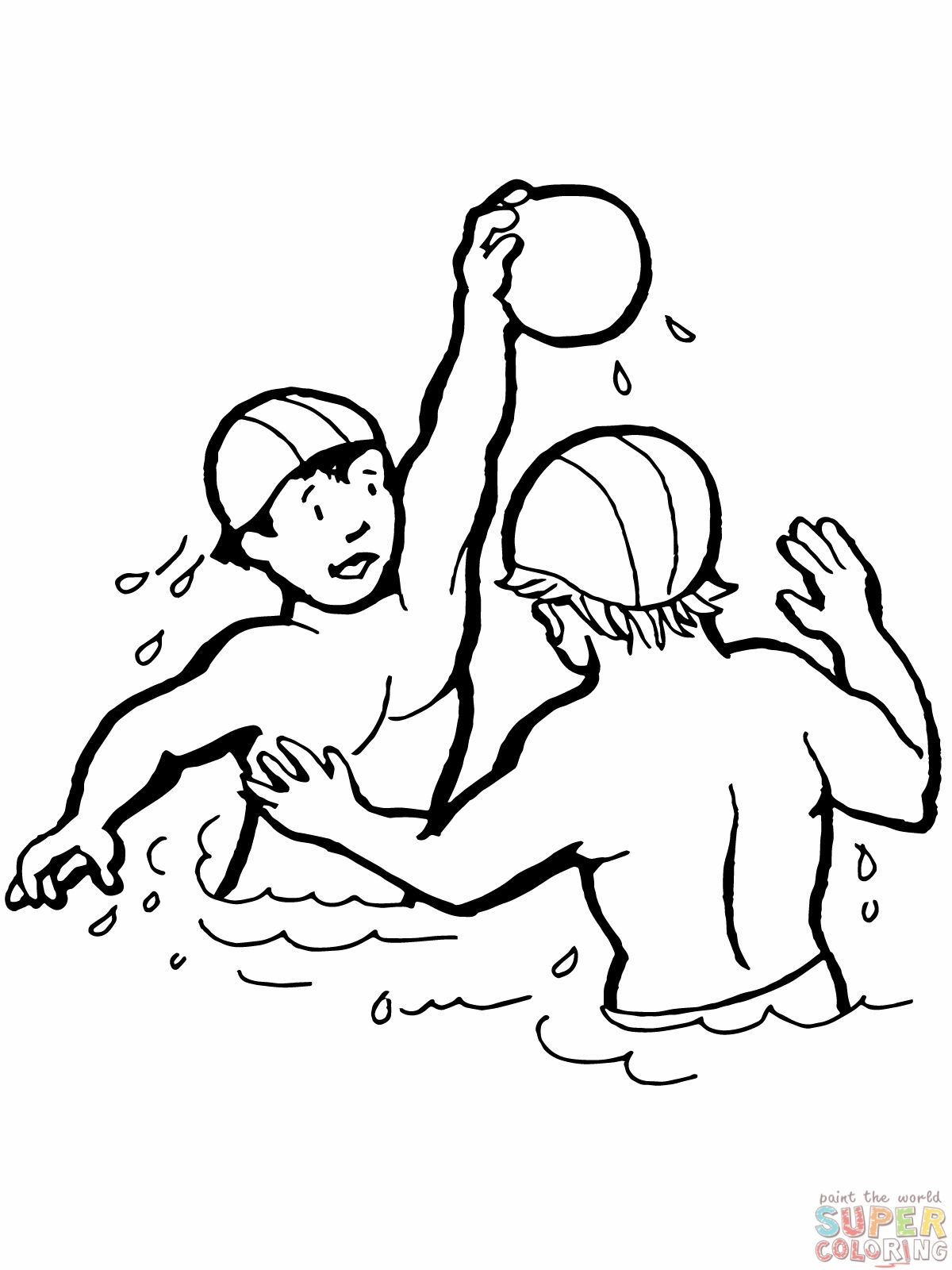 Kids Playing Water Polo Coloring