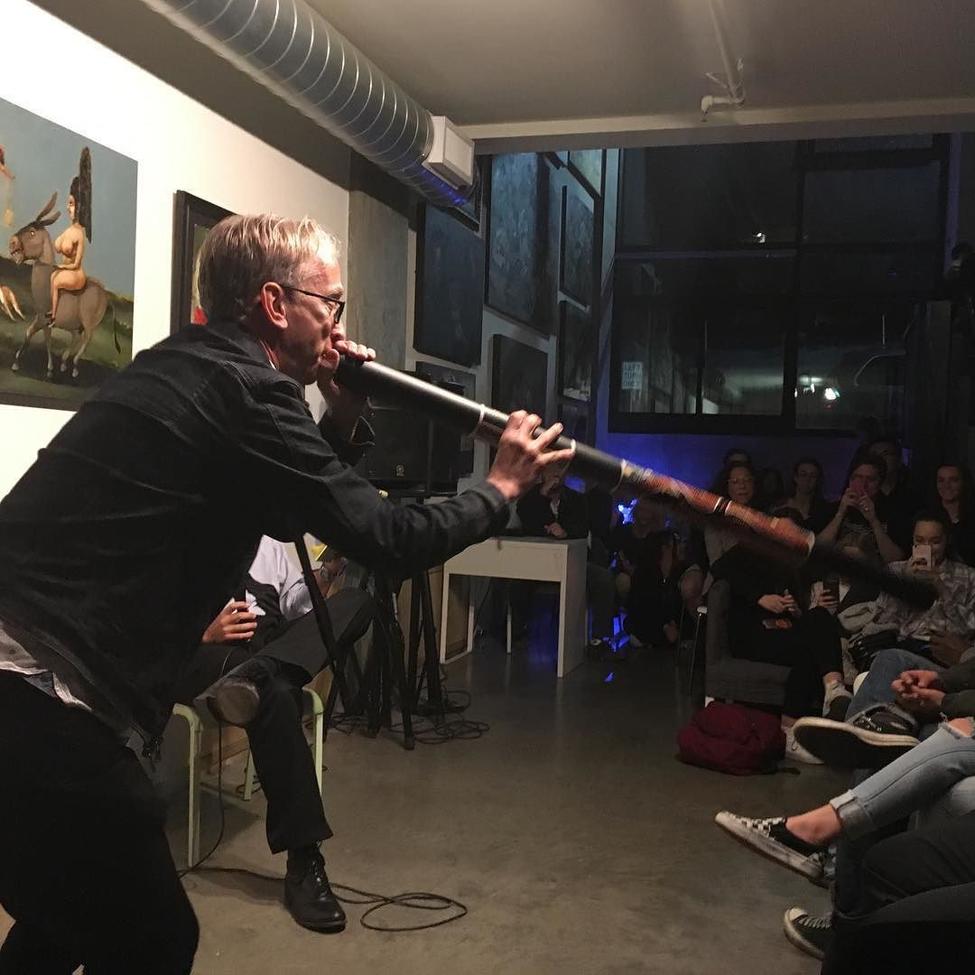 Last Sunday when @andydick played the didgeridoo at @megsdick 24 hour plays - every Sunday. What are you doing tomorrow?