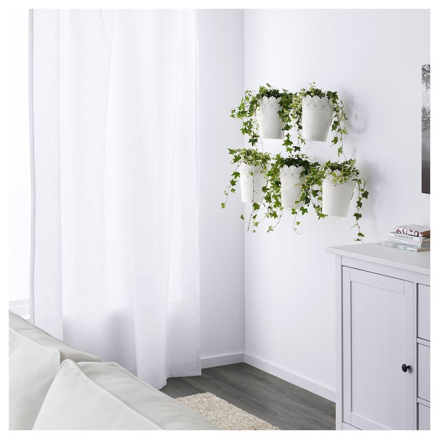 Skurar Plant Pot With Holder Indoor Outdoor White Ikea Potted Plants Ikea Indoor Plant Pots