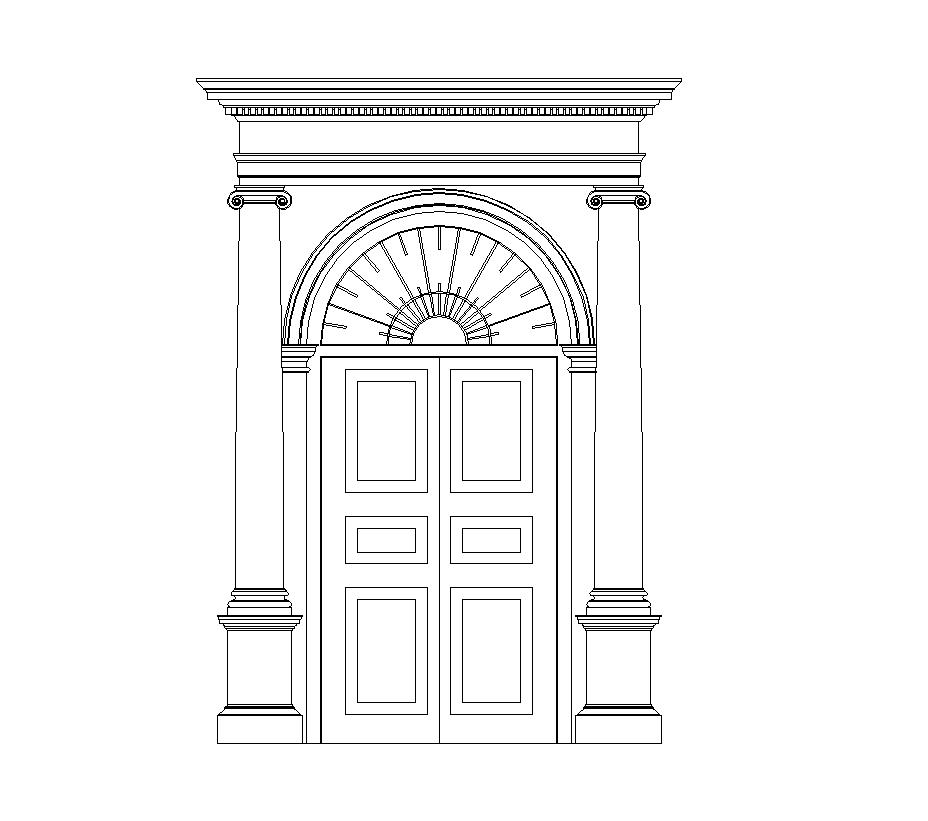 Entrance doors with pillars - External - Doors - FREE 2D CAD