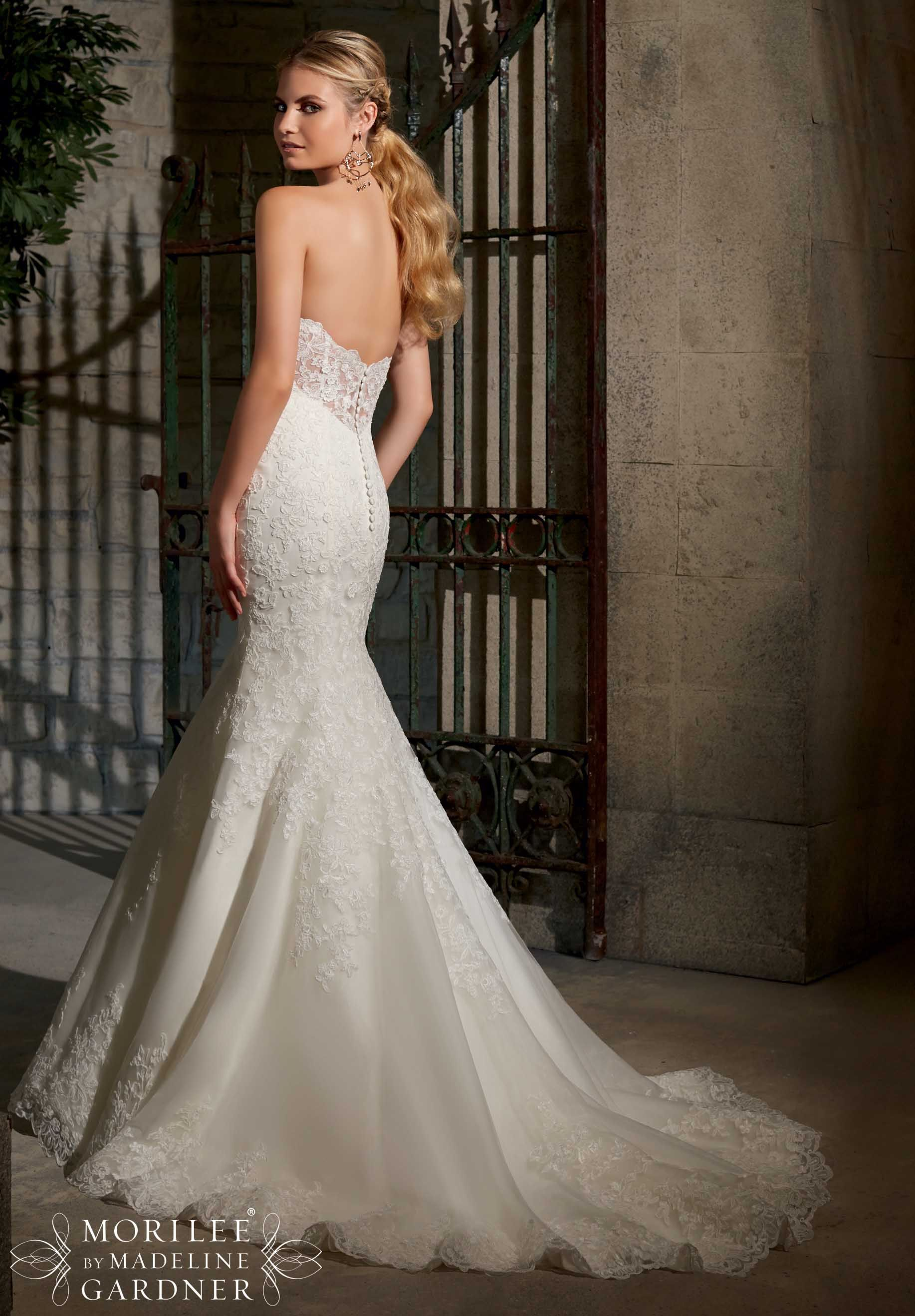 Mori lee madeline gardner wedding dress   Bridal Gowns  Dresses Elegant Alencon Lace on Net with Wide