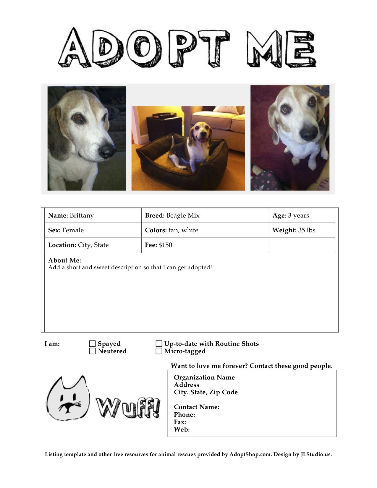 Meow Wuff Adoption Flyer Templates Dog Rescue Fundraising
