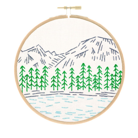 This adorable, small embroidery kit of Rocky Mountains in Colorado is part of my National Parks series. If you love the outdoors, now you can show it off with a stitched landmark you love (and hopefully have visited several times). This design only uses the two simplest embroidery stitches (the running stitch and the back stitch), which means its an easy project to stitch up while youre on your gorgeous road trip to the Rocky Mountains. Also, arent those trees adorable?  Your Rocky Mountains…