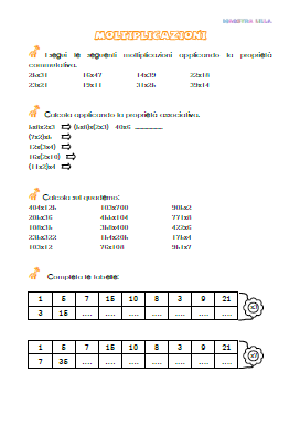 Scheda didattica matematica moltiplicazioni classe 4 ...