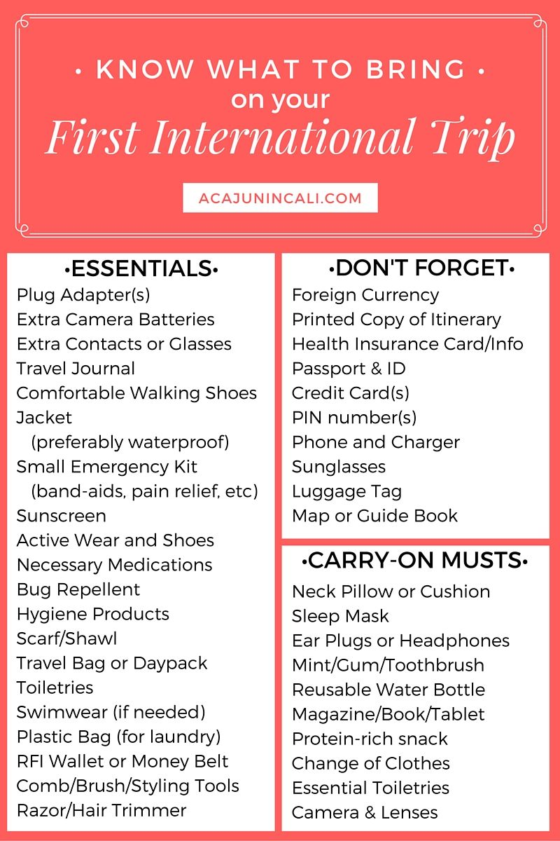 know what to bring on your first international trip travel