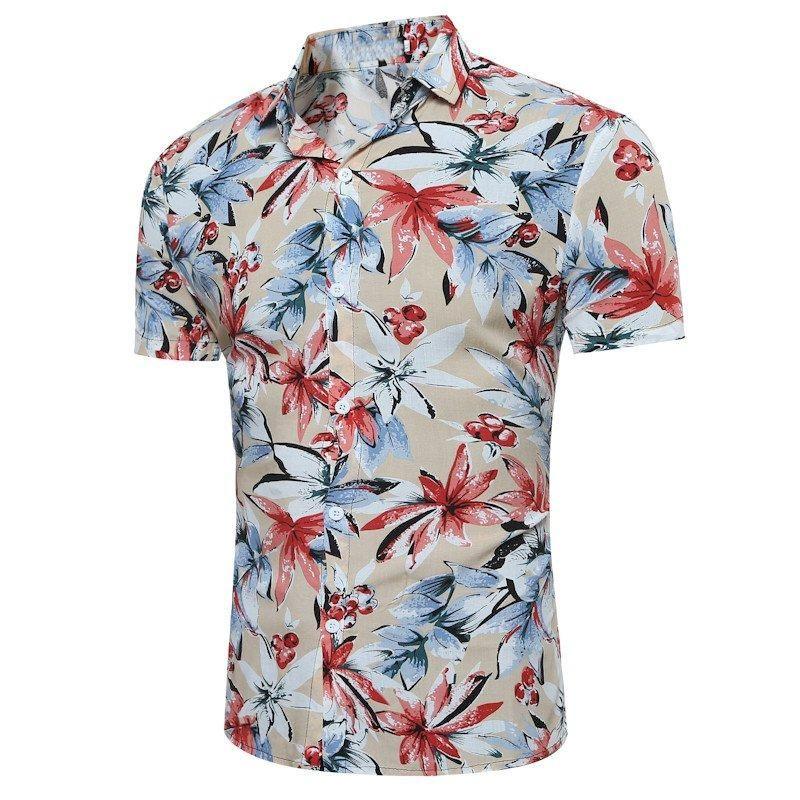 43f93faac365 2018 Men Summer Floral Casual Shirt Plus Size Short Sleeve Buttons Down Shirts  Slim Fit Hawaiian Holiday Beach Lapel Top M-3XL