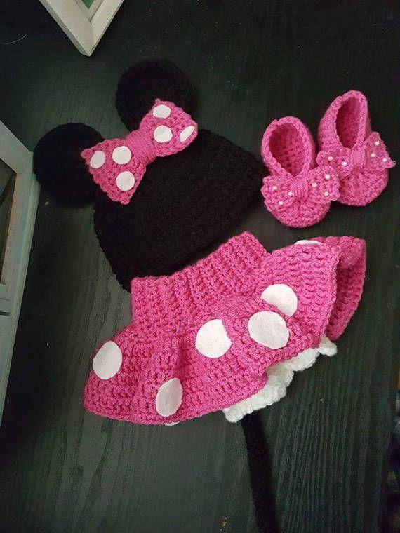 Traje De Minnie Mouse Crochet Ganchillo Ropa Ganchillo Y