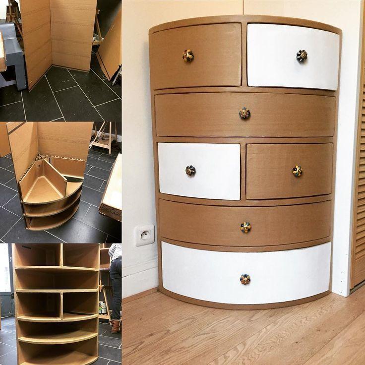 Meubleencarton Meubledangle Creation Carton Deco Carton Creation Deco Meubl Meuble En Carton Artisanat En Carton Rangement Carton