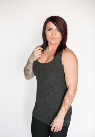 pre-sale* Racerback Tank – charcoal (ships in 2 to 4 weeks)  $38.00    Our new racerback tank tops are just what you have been calling for! Wear these to spin, yoga or under all of your favorite Buttercream Clothing pieces.