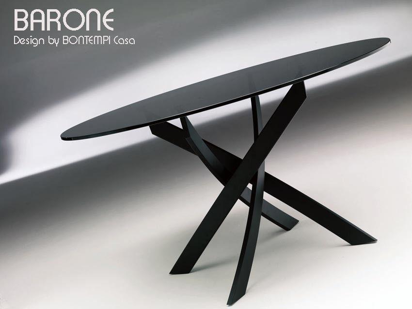 Table Ronde Barone Acier Et Verre D 130 Et D 150 Cm