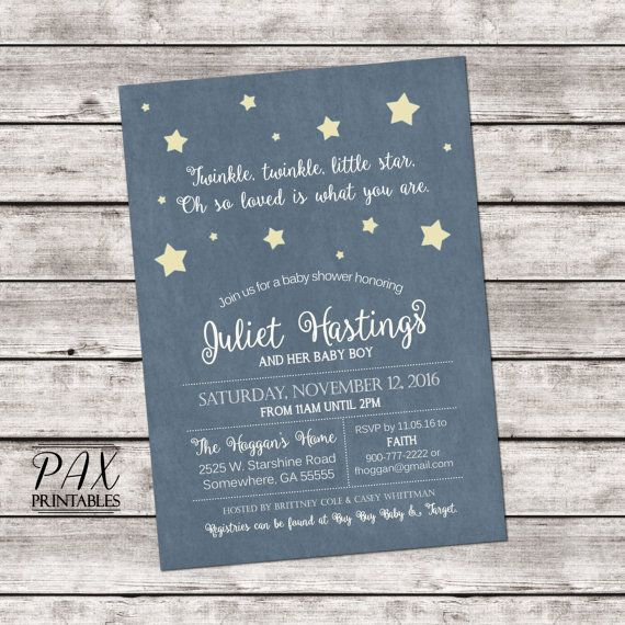 Baby Shower Star Invitation  Printable Twinkle by PAXprintables