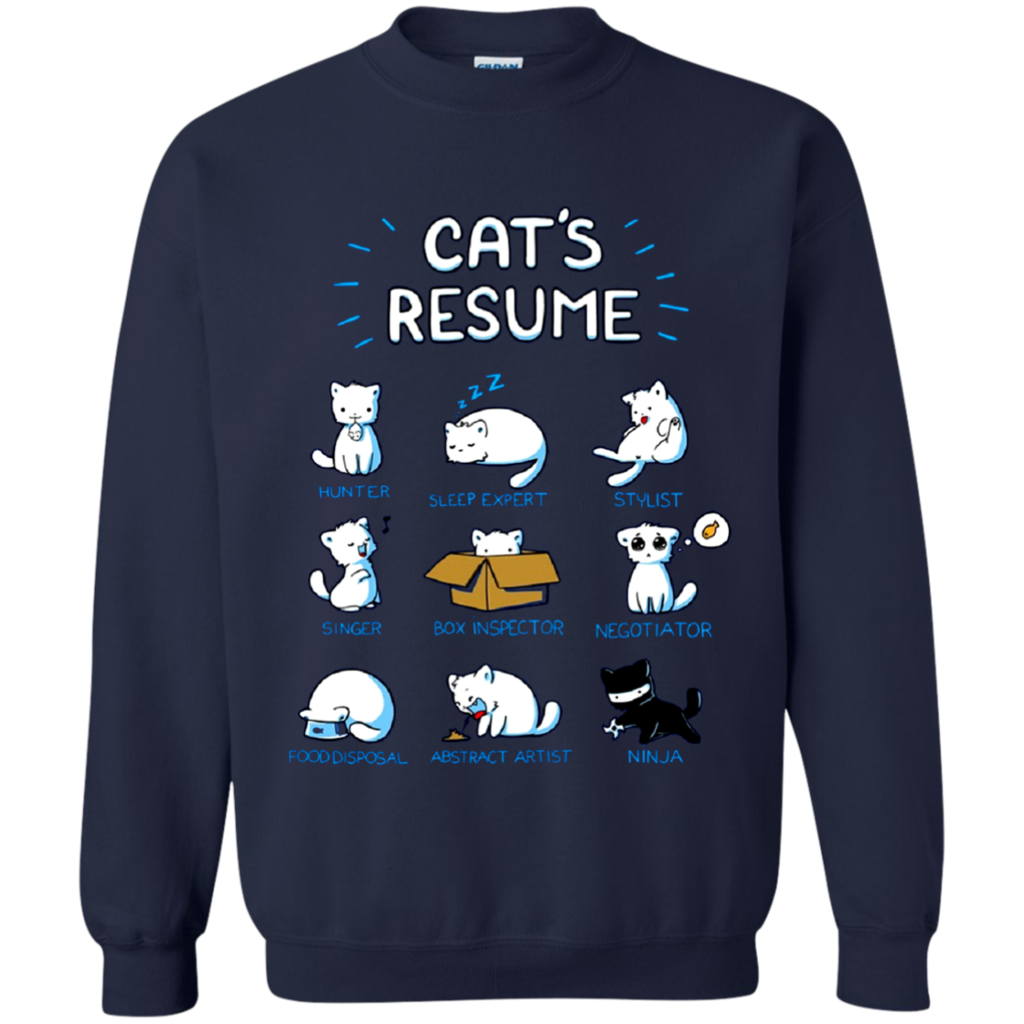 Animal Cats T-shirts Cats Resume Hunter Sleep Expert Stylist Singer ...
