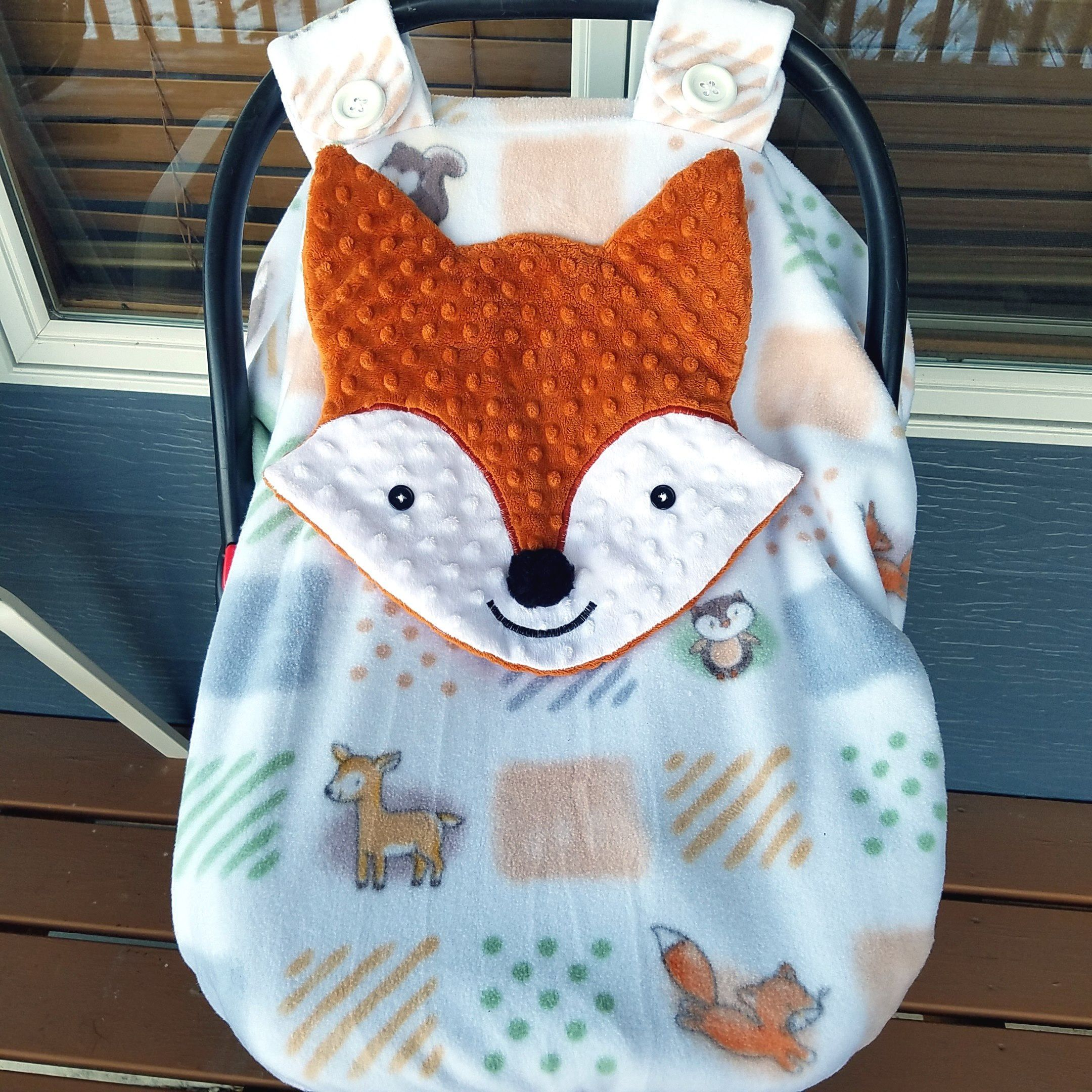 Fox Fitted Elephant Carseat Canopy With Peek A Boo Opening Ready To Be Shipped