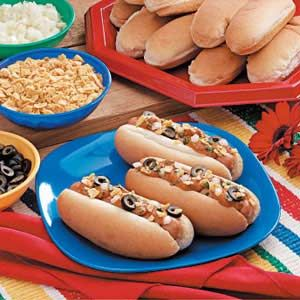 Fiesta Chili Dogs Recipe -These hot dogs are a hit with my grandchildren.                                             —Marion Lowery, Medford, Oregon