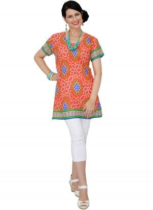 Bella Mid Length Printed Red Tunic Top  AUD $24.95
