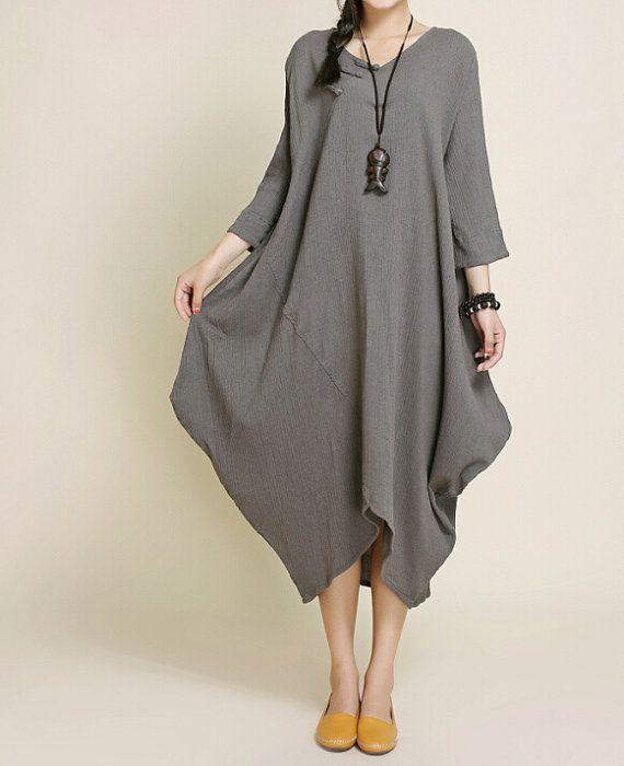 【Fabric】 Cotton, linen 【Color】 bice, Deep camel 【Size】 Shoulder 40cm, Bust 108cm, Waist 126cm, Sleeve 40cm, Length 98cm-115cm, Hem 120cm Have any