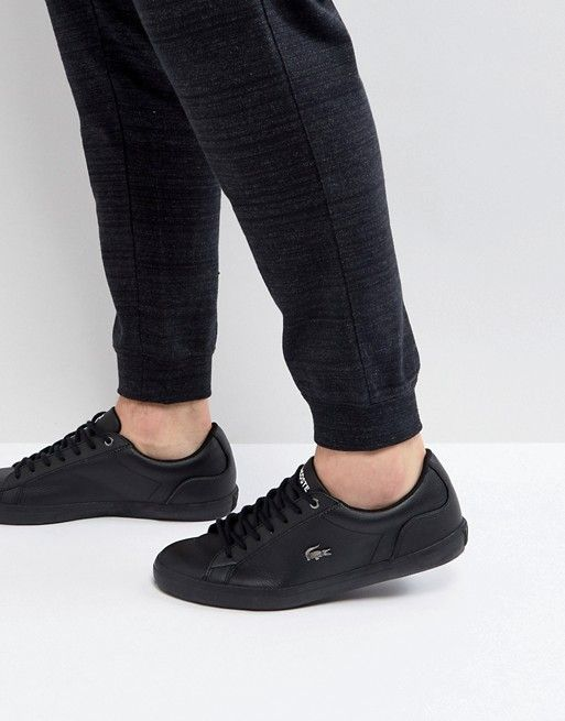 c8dd628d340fb Lacoste Lerond 317 Triple Black Leather Sneakers