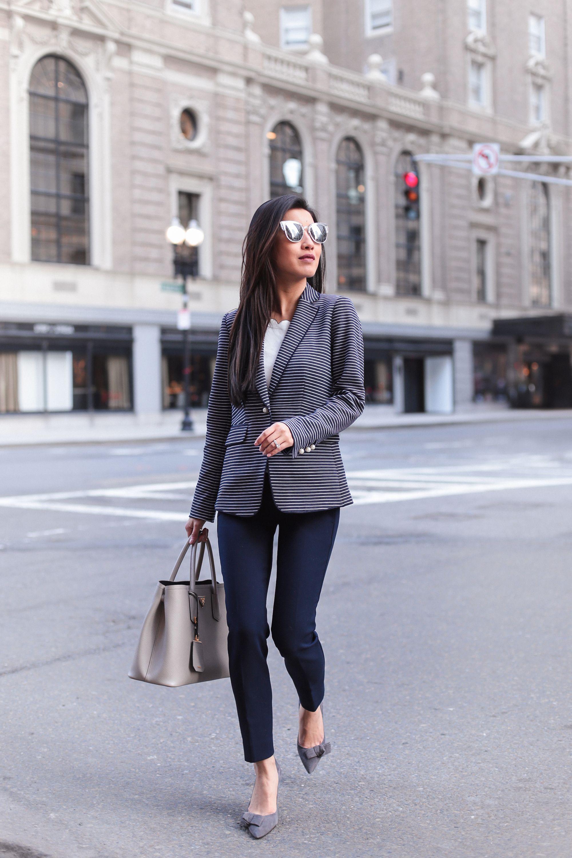 Striped Blazer The Best Petite Pants No Waist Gap Herbstmode Frauen Anziehsachen Mode