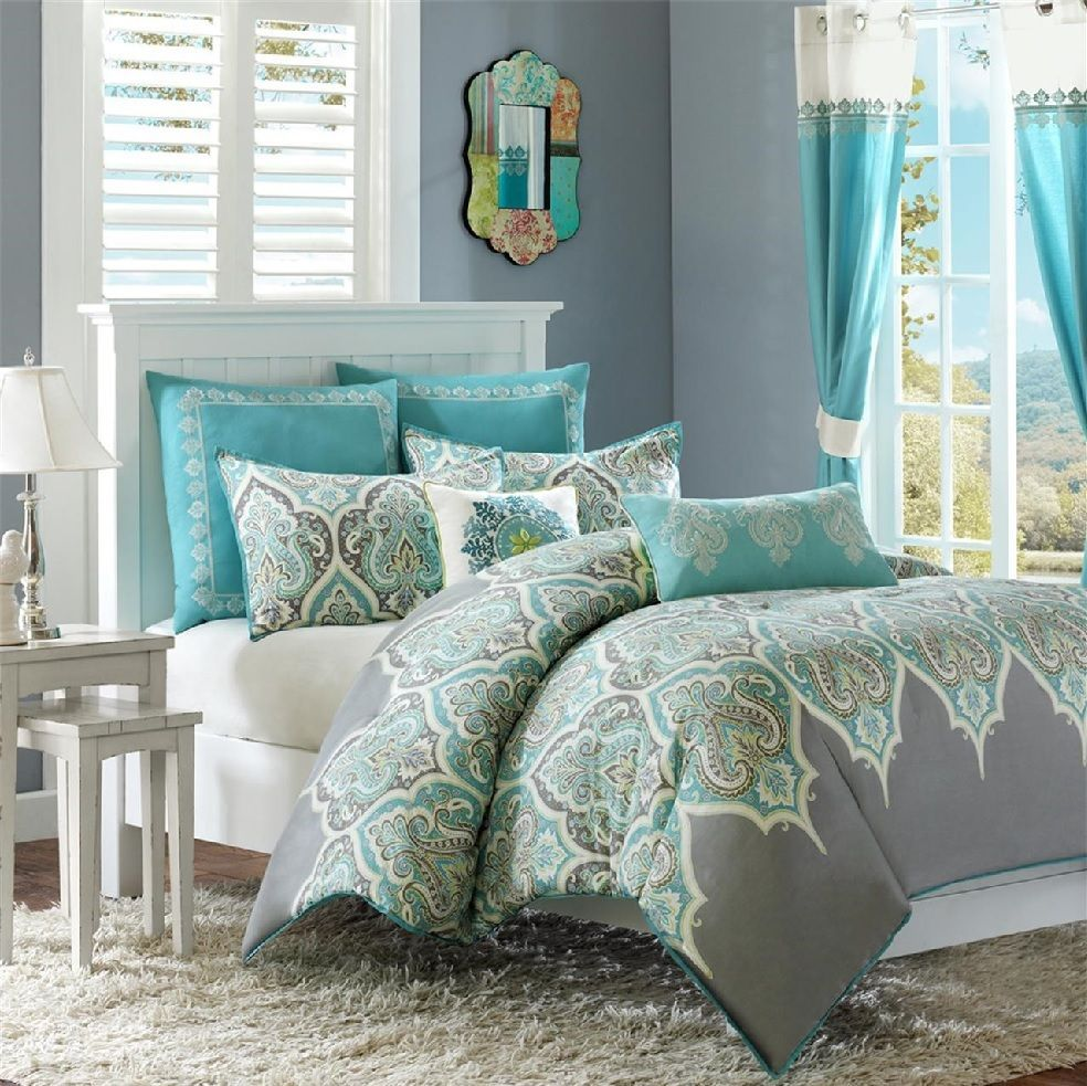 Nisha In Dusty Teal Charcoal Grey And Lime Green Comforter Sets