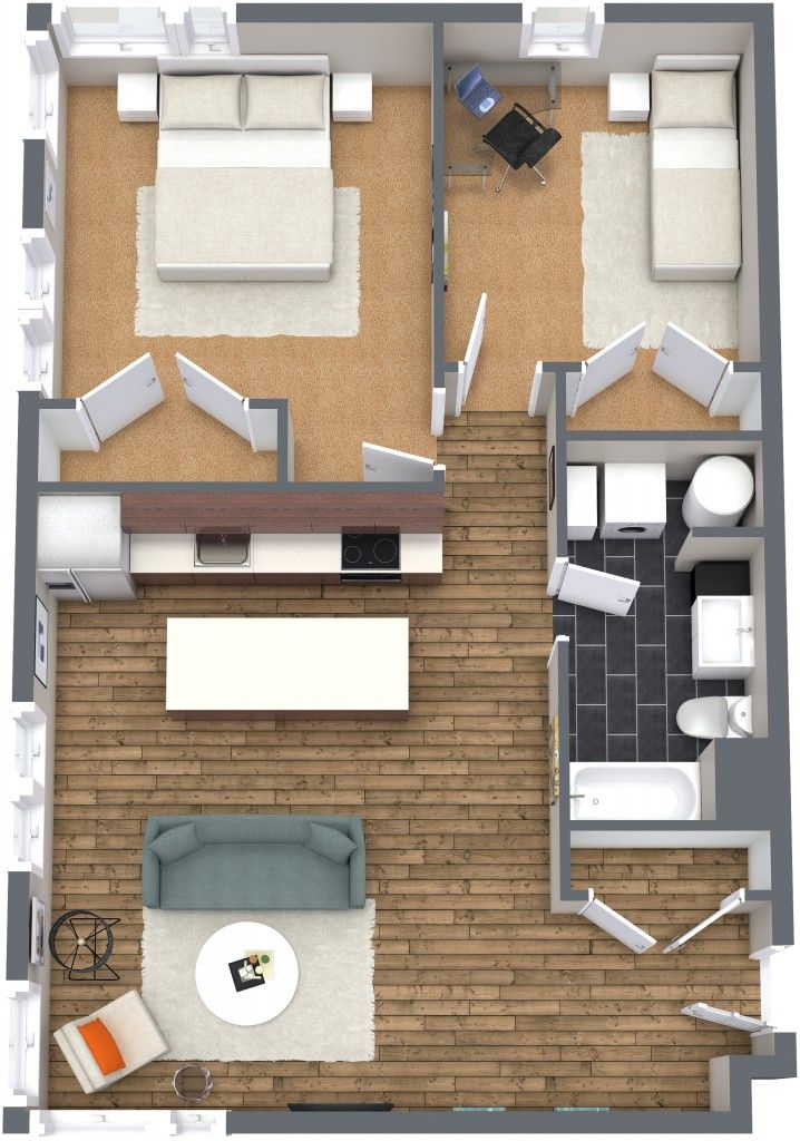 Planos de departamentos dos dormitorios lofts suites y for Diseno de apartamento de una habitacion